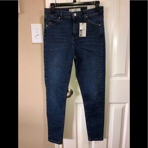 Topshop Dark Blue High Waist Skinny Jeans